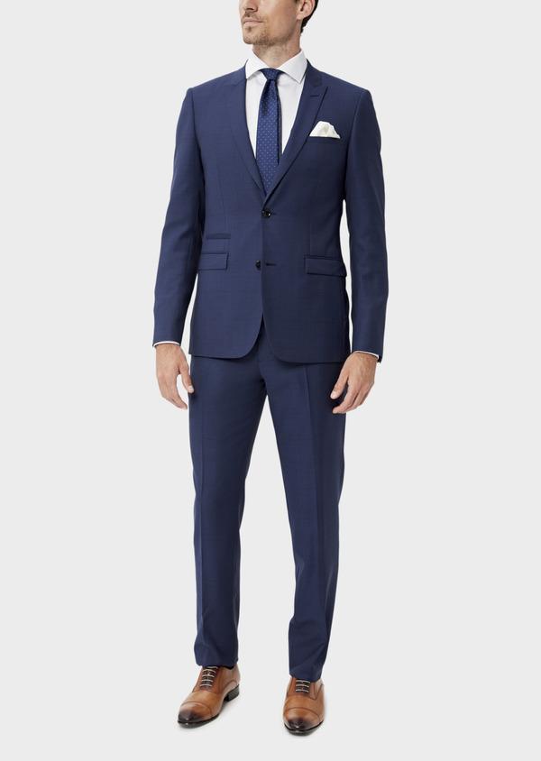 Costume 2 pièces Slim en laine strech naturelle bleue Prince de Galles - Father and Sons 35048