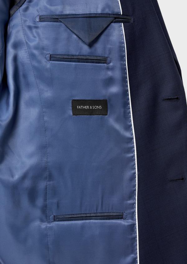 Costume 2 pièces Slim en laine strech naturelle bleue Prince de Galles - Father and Sons 35052