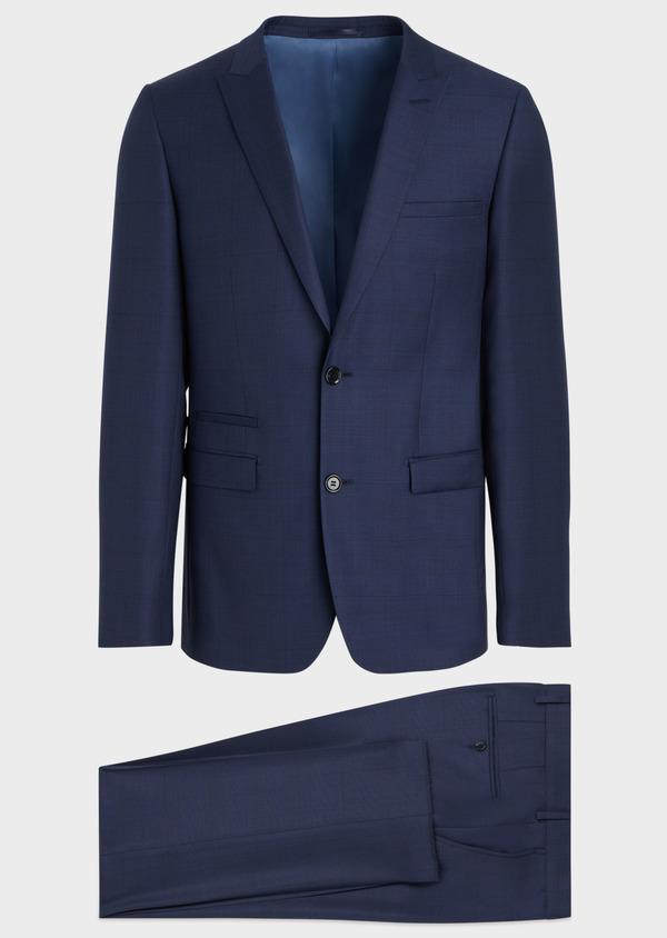 Costume 2 pièces Slim en laine strech naturelle bleue Prince de Galles - Father and Sons 35046
