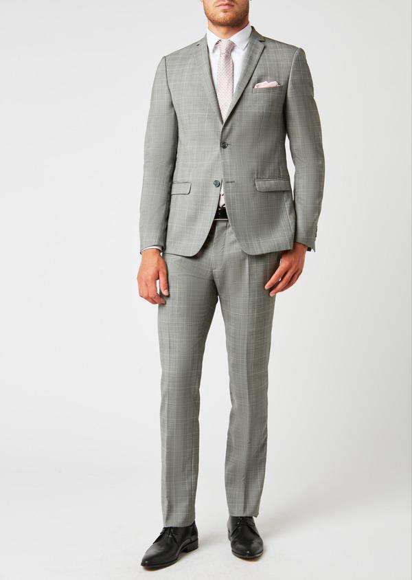 Costume 2 pièces Slim en laine gris clair Prince de Galles - Father and Sons 26384