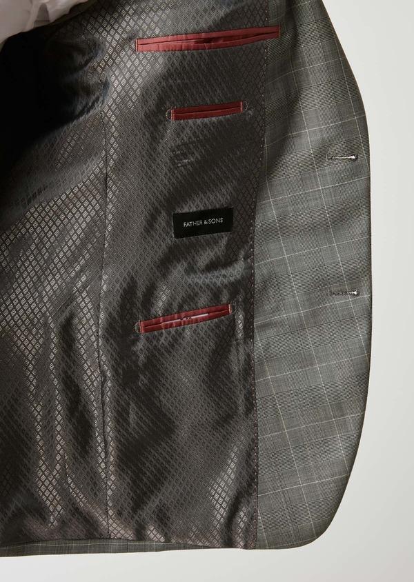 Costume 2 pièces Slim en laine gris clair Prince de Galles - Father and Sons 26388
