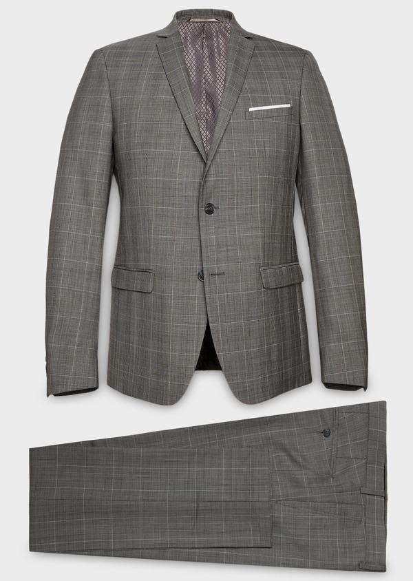 Costume 2 pièces Slim en laine gris clair Prince de Galles - Father and Sons 26382