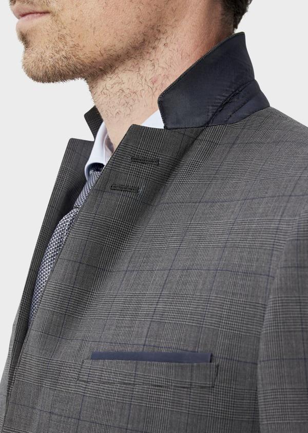 Costume 2 pièces Slim en laine stretch naturelle marron Prince de Galles - Father and Sons 35027