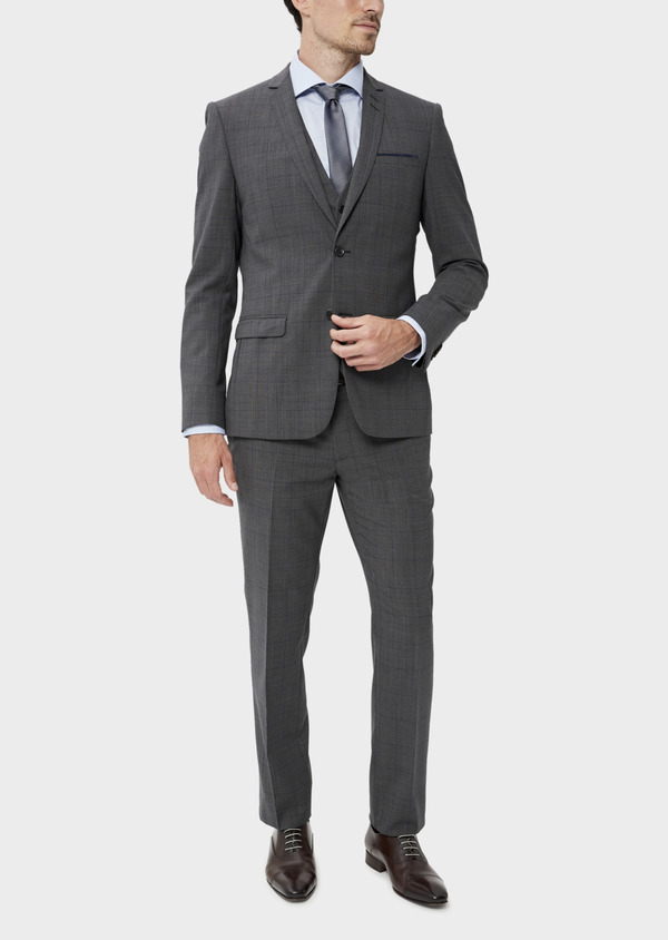 Costume 2 pièces Slim en laine stretch naturelle marron Prince de Galles - Father and Sons 35025