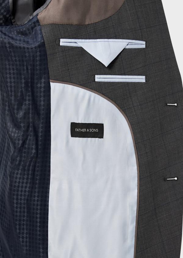 Costume 2 pièces Slim en laine stretch naturelle marron Prince de Galles - Father and Sons 35029
