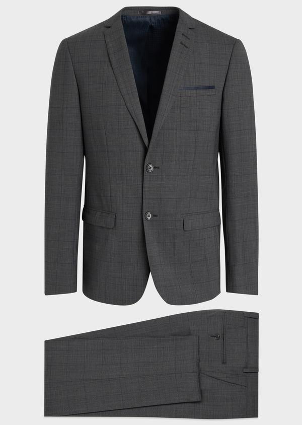 Costume 2 pièces Slim en laine stretch naturelle marron Prince de Galles - Father and Sons 35023