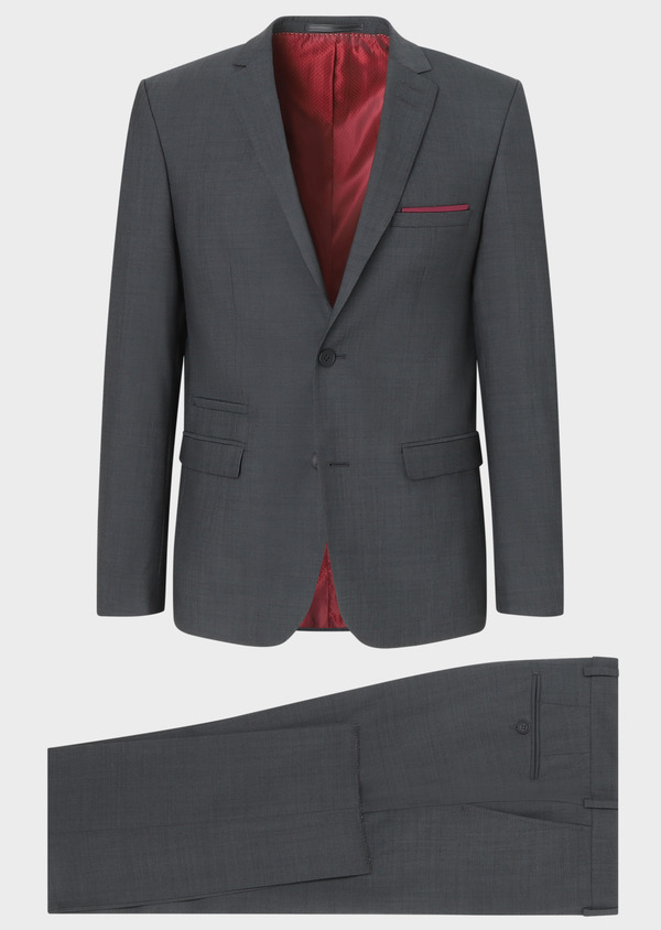 Costume 2 pièces Slim en laine unie gris anthracite - Father and Sons 31859