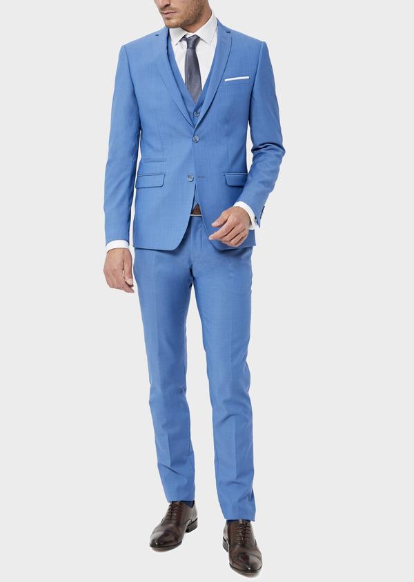 Costume 2 pièces Slim en laine unie bleu azur - Father and Sons 36308