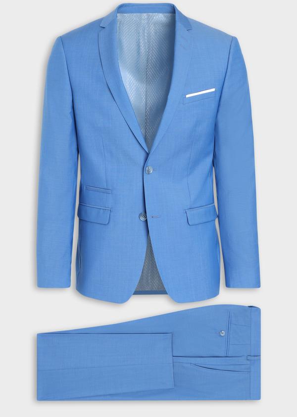 Costume 2 pièces Slim en laine unie bleu azur - Father and Sons 36306