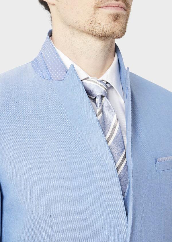 Costume 2 pièces Slim en laine stretch naturelle unie bleu clair - Father and Sons 37435