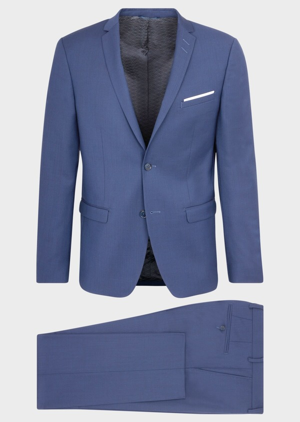 Costume 2 pièces Slim en laine stretch Naturelle unie bleu indigo - Father and Sons 37462