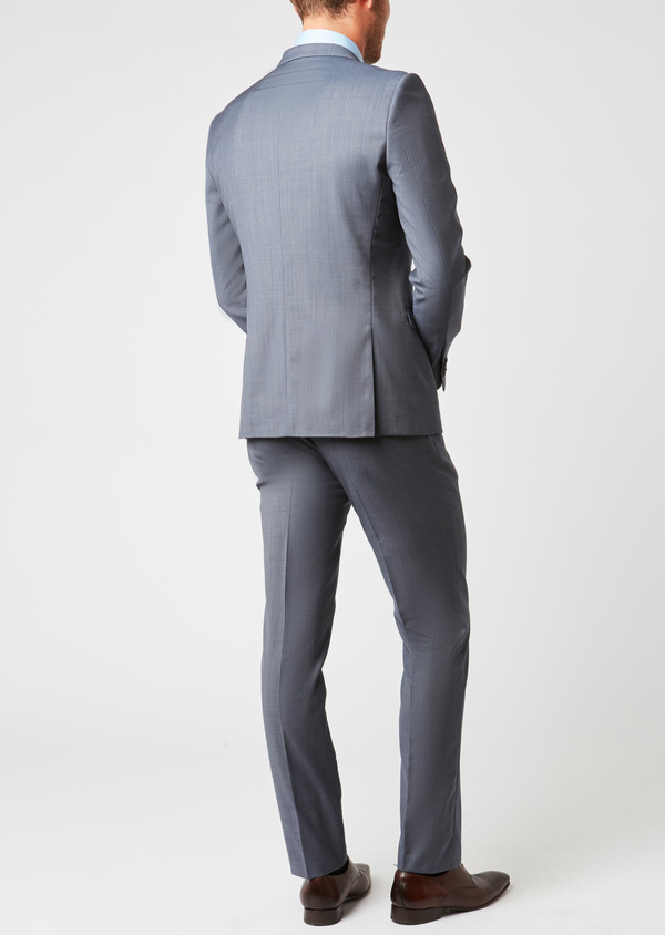 Costume 2 pièces Slim en laine caviar unie bleu chambray - Father and Sons 26455
