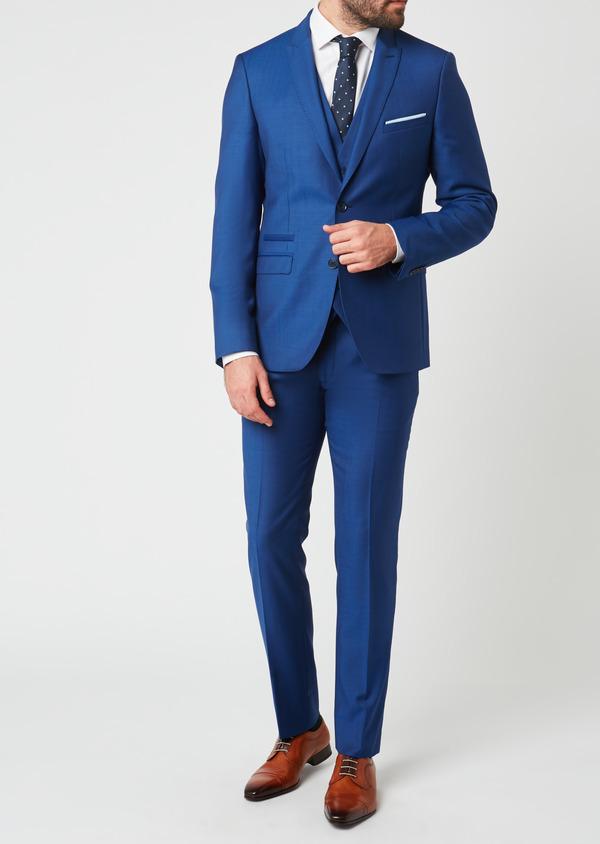 Costume 2 pièces Slim en laine unie bleue - Father and Sons 27589