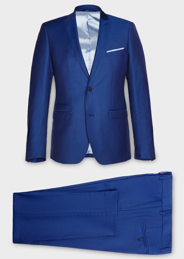 Costume 2 pièces Slim en laine unie bleue - Father and Sons 27587