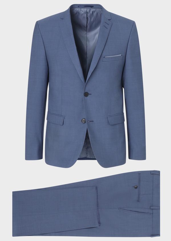 Costume 2 pièces Slim en laine unie bleu chambray - Father and Sons 31860
