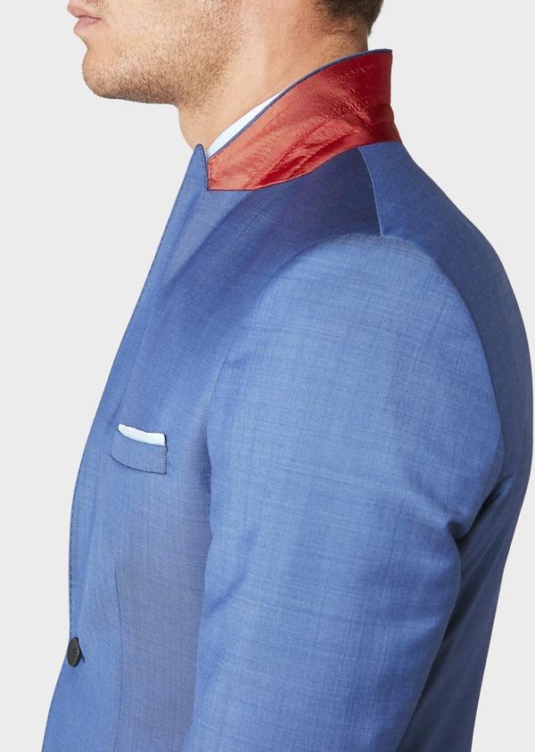 Costume 2 pièces Slim en laine fil-à-fil unie bleue - Father and Sons 31227
