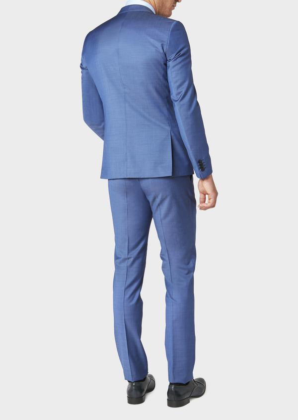 Costume 2 pièces Slim en laine fil-à-fil unie bleue - Father and Sons 31226