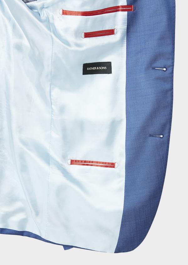 Costume 2 pièces Slim en laine fil-à-fil unie bleue - Father and Sons 31229