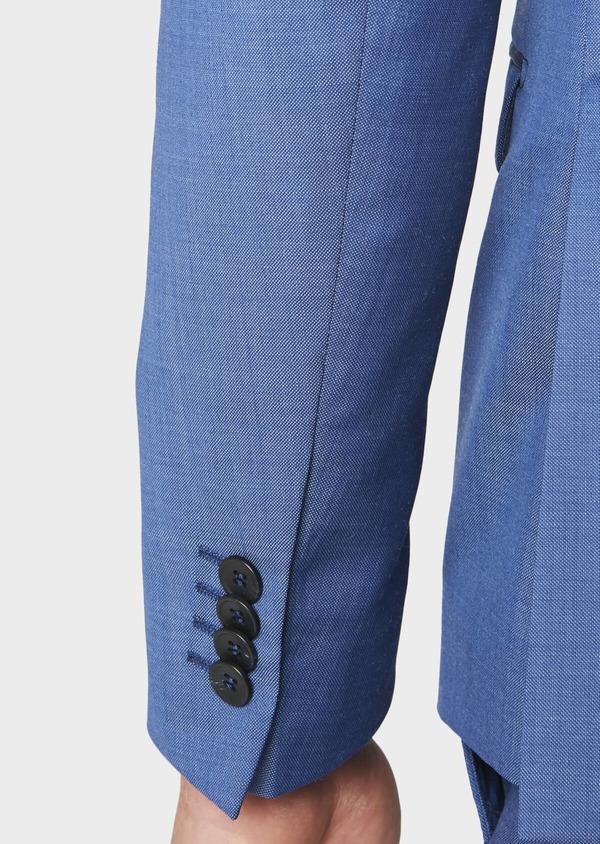 Costume 2 pièces Slim en laine fil-à-fil unie bleue - Father and Sons 31228
