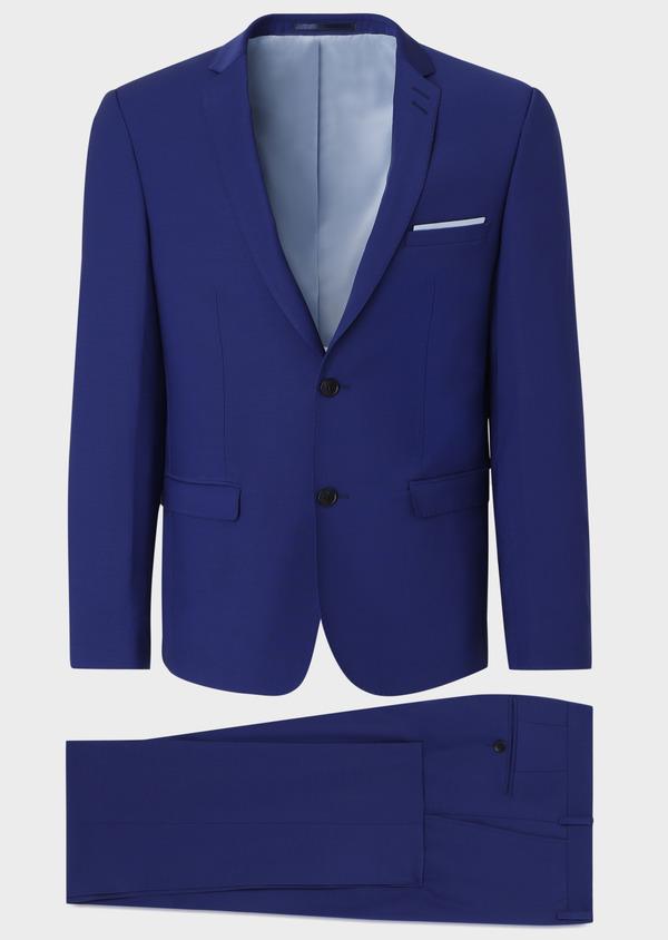 Costume 2 pièces Slim en laine mélangée unie bleue - Father and Sons 31016