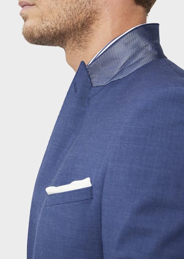 Costume 2 pièces Slim en laine stretch naturelle unie bleue - Father and Sons 35979