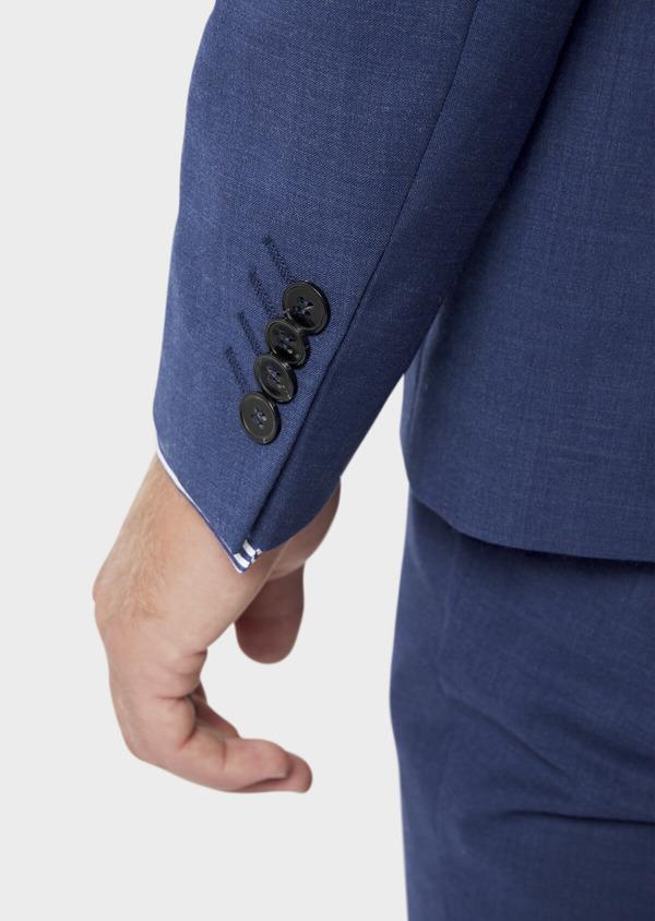 Costume 2 pièces Slim en laine stretch naturelle unie bleue - Father and Sons 35980