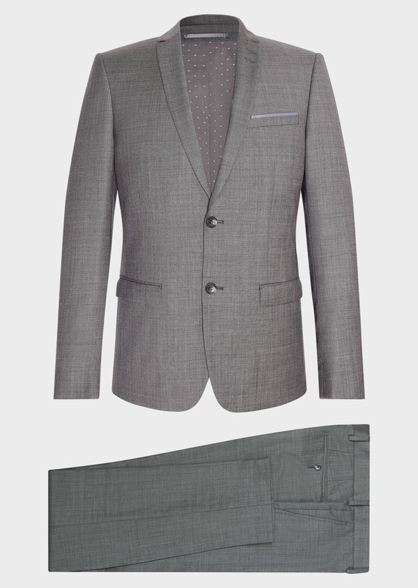 Costume 2 pièces Slim en laine unie grise - Father and Sons 31484