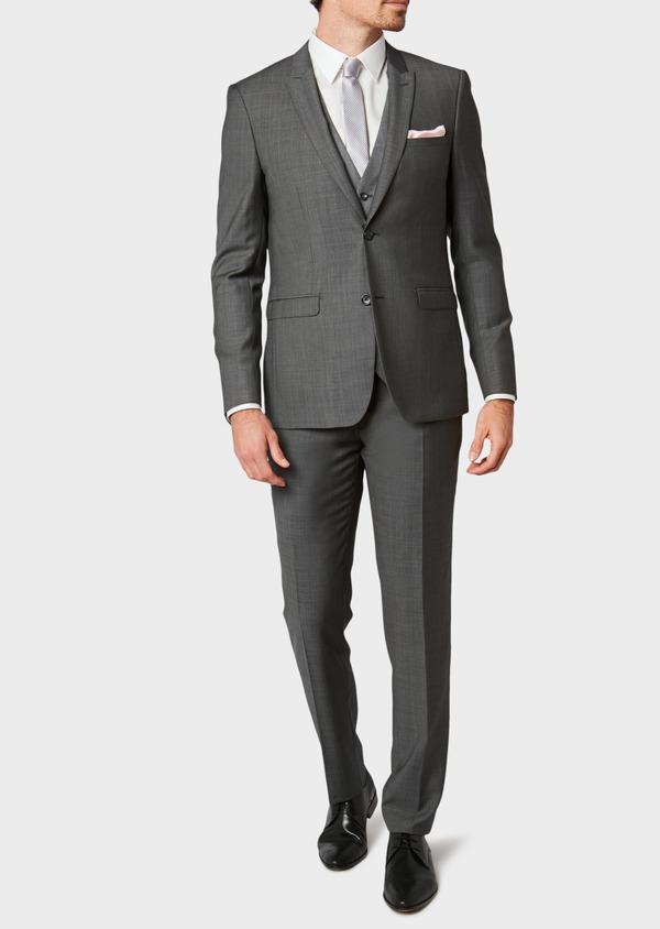 Costume 2 pièces Slim en laine unie gris clair - Father and Sons 31499