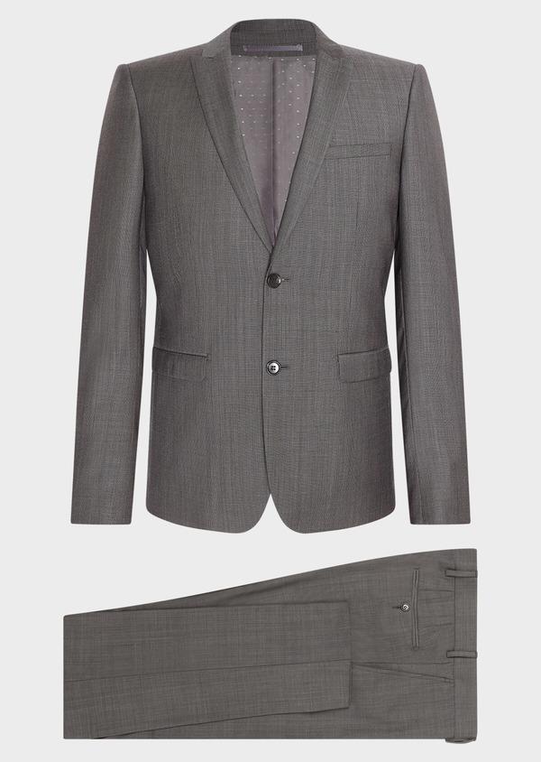 Costume 2 pièces Slim en laine unie gris clair - Father and Sons 31497
