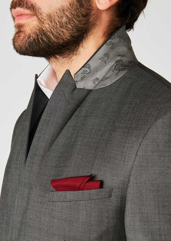 Costume 2 pièces Slim en laine façonnée unie grise - Father and Sons 26405