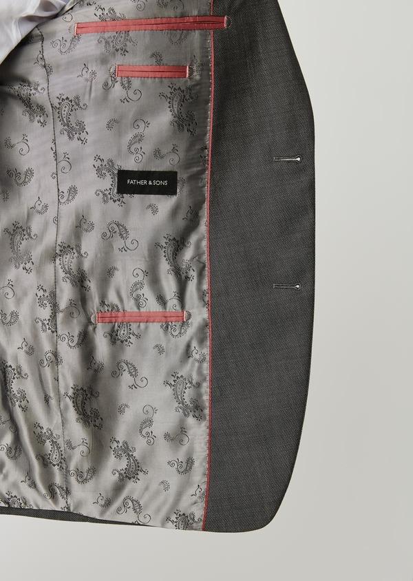 Costume 2 pièces Slim en laine façonnée unie grise - Father and Sons 26407