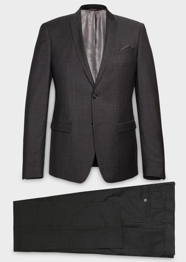 Costume 2 pièces Slim en laine façonnée unie grise - Father and Sons 26401