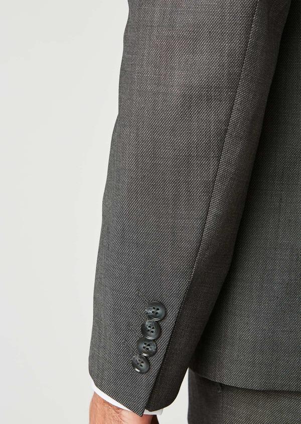 Costume 2 pièces Slim en laine façonnée unie grise - Father and Sons 26406