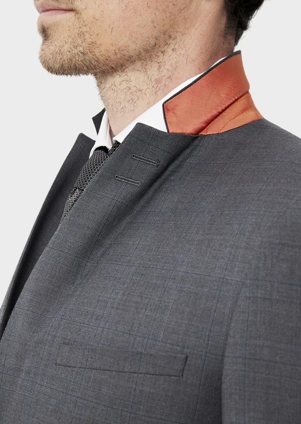 Costume 2 pièces Slim en laine stretch naturelle unie grise - Father and Sons 35092
