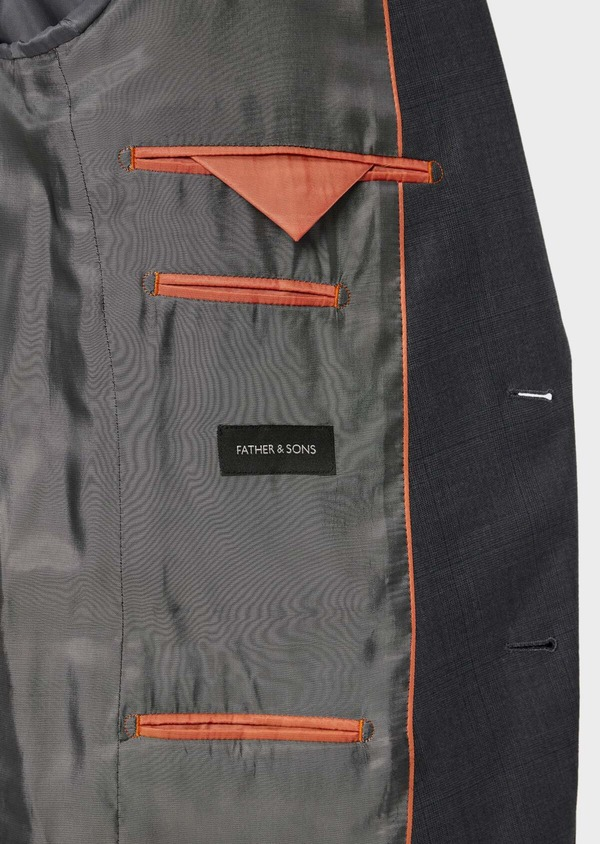 Costume 2 pièces Slim en laine stretch naturelle unie grise - Father and Sons 35094