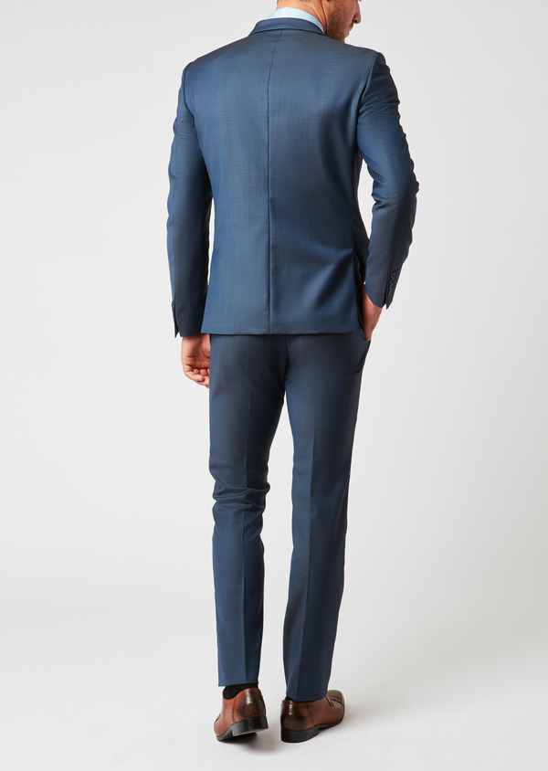 Costume 2 pièces Slim en laine unie bleu indigo - Father and Sons 26424