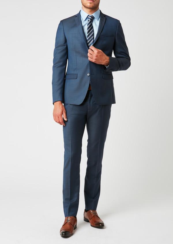 Costume 2 pièces Slim en laine unie bleu indigo - Father and Sons 26423