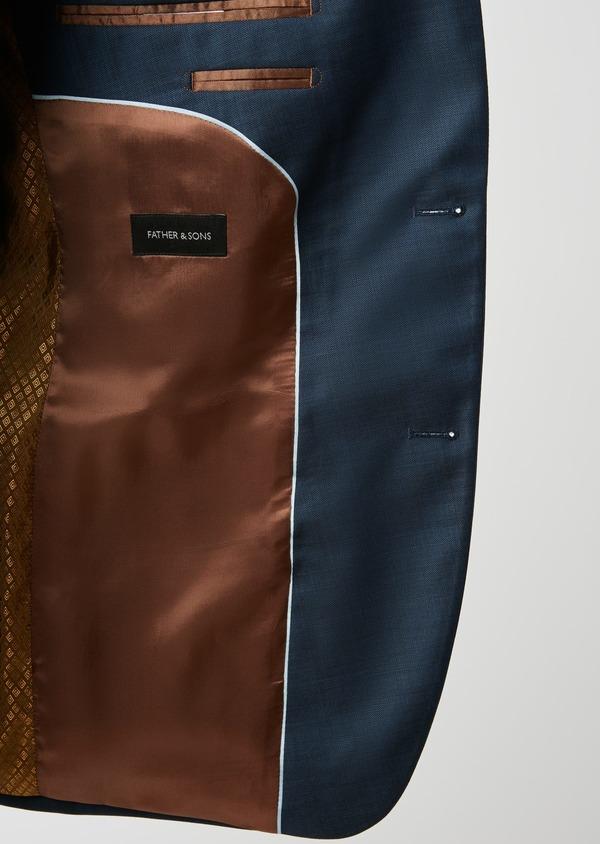 Costume 2 pièces Slim en laine unie bleu indigo - Father and Sons 26427