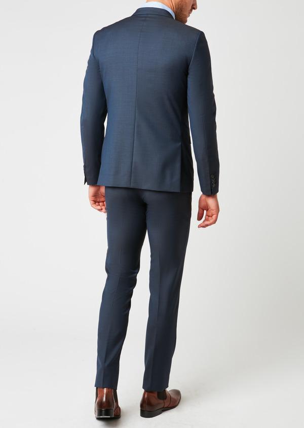 Costume 2 pièces Slim en laine façonnée unie bleu chambray - Father and Sons 26434