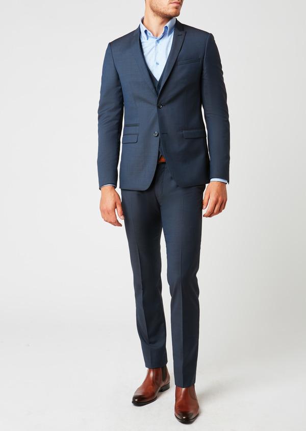 Costume 2 pièces Slim en laine façonnée unie bleu chambray - Father and Sons 26433