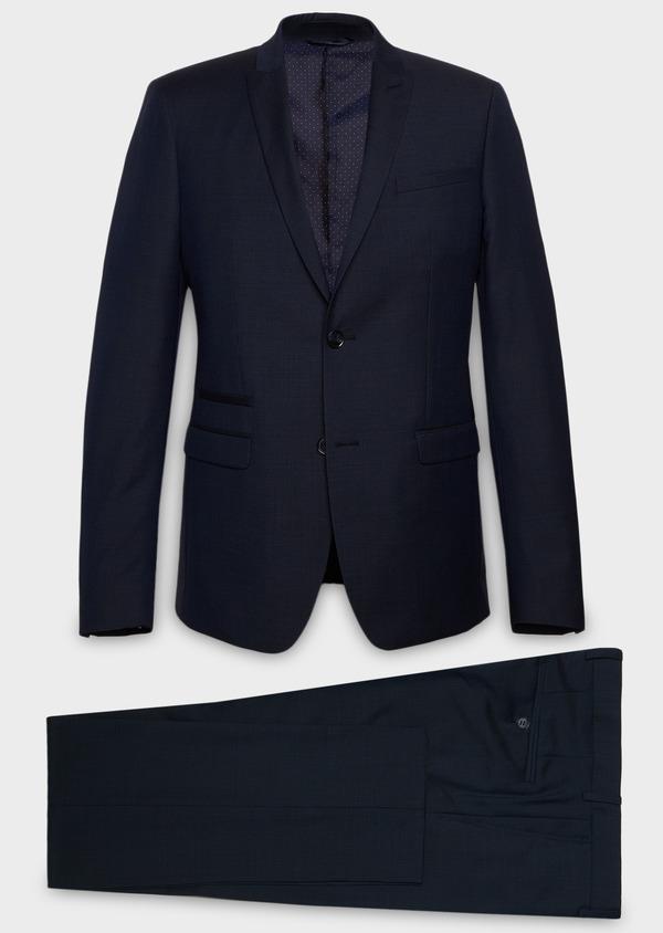 Costume 2 pièces Slim en laine façonnée unie bleu chambray - Father and Sons 26431