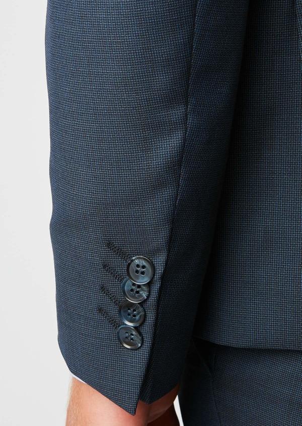 Costume 2 pièces Slim en laine façonnée unie bleu chambray - Father and Sons 26435