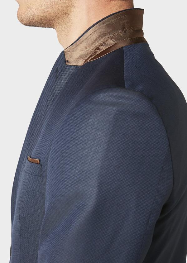 Costume 2 pièces Regular en laine façonnée unie bleu indigo - Father and Sons 31151