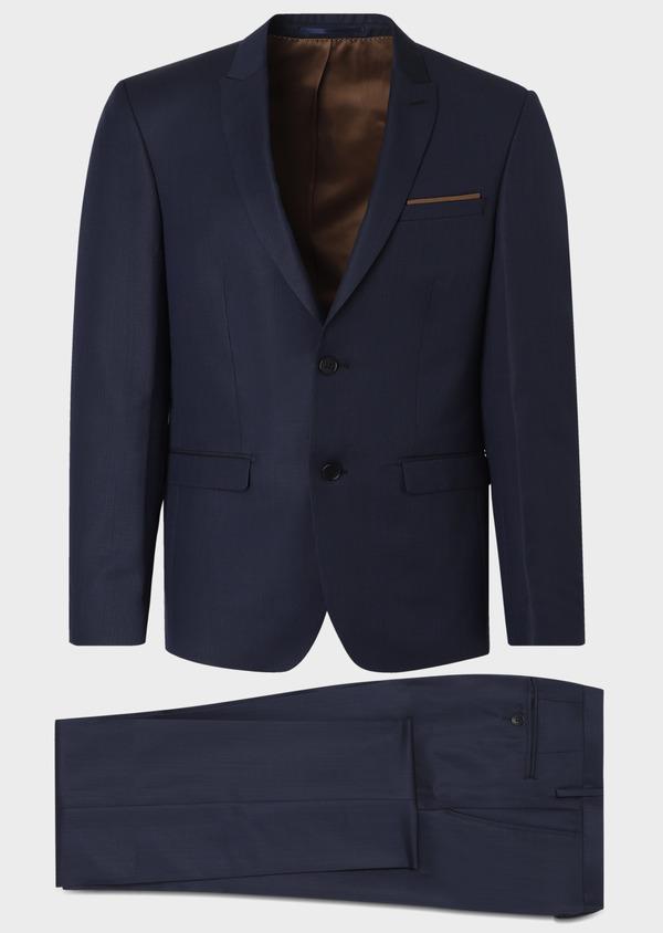 Costume 2 pièces Regular en laine façonnée unie bleu indigo - Father and Sons 31147