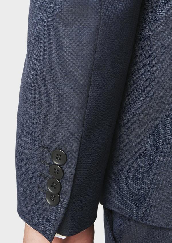 Costume 2 pièces Regular en laine façonnée unie bleu indigo - Father and Sons 31152