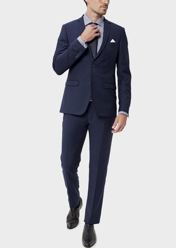 Costume 2 pièces Slim en laine unie bleu indigo - Father and Sons 35069
