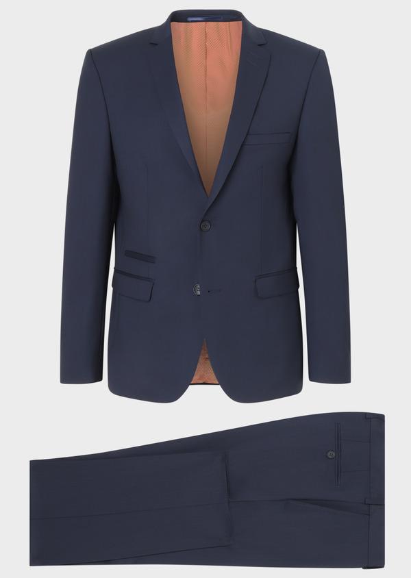 Costume 2 pièces Slim en laine unie bleu marine - Father and Sons 31857
