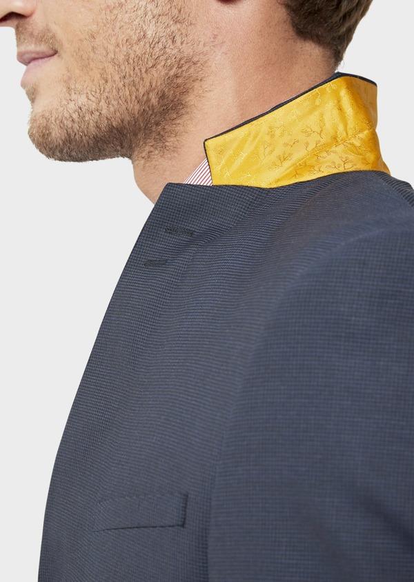 Costume 2 pièces Slim en laine unie stretch bleu marine - Father and Sons 35966
