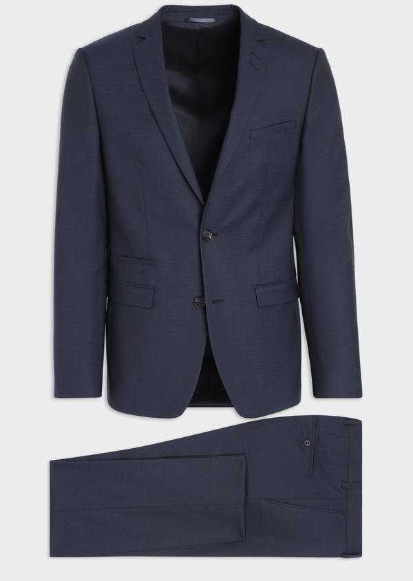 Costume 2 pièces Slim en laine unie stretch bleu marine - Father and Sons 35962