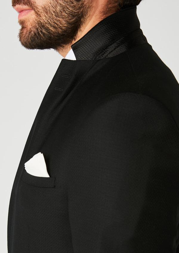 Costume 2 pièces Slim en laine façonnée unie noire - Father and Sons 26356